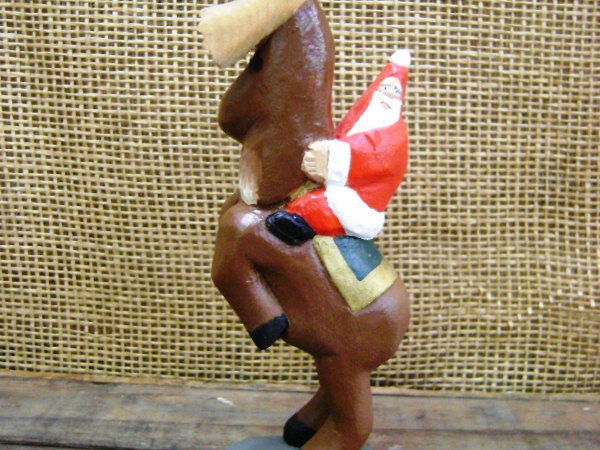 Handcarved Wooden Statue   Santa Riding a Reindeer