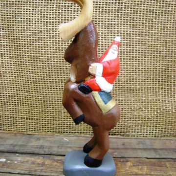 Handcarved Wooden Statue | Santa Riding a Reindeer