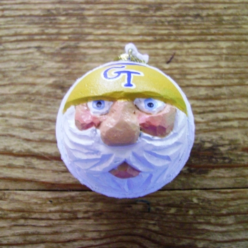 Georgia Tech Golf Ball Christmas Santa Ornament