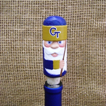 georgia tech handcarved santa wine bottle stopper cork