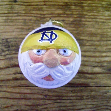 Notre Dame Golf Ball Christmas Santa Ornament