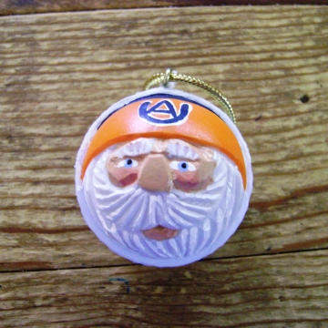 Handcarved Golf Ball Santa Ornament | Auburn Tigers