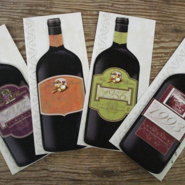 Wine Bottle Year Cards for Birthdays