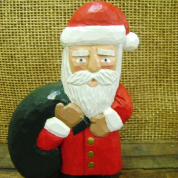 Handcarved Wooden Santa Statue | Toting Toys