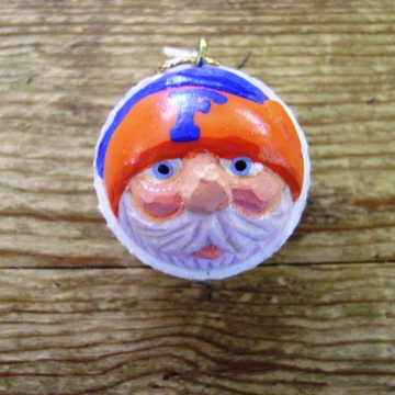 Handcarved Golf Ball Santa Ornament | University of Florida Gators