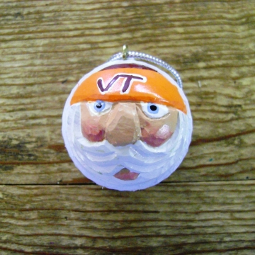 Handcarved Golf Ball Santa Ornament | Virginia Tech Hokies
